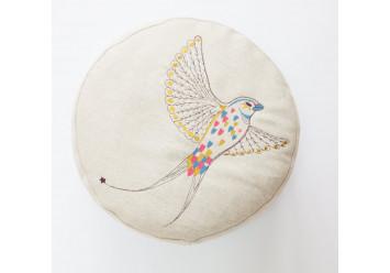 Pouf with fantasy bird