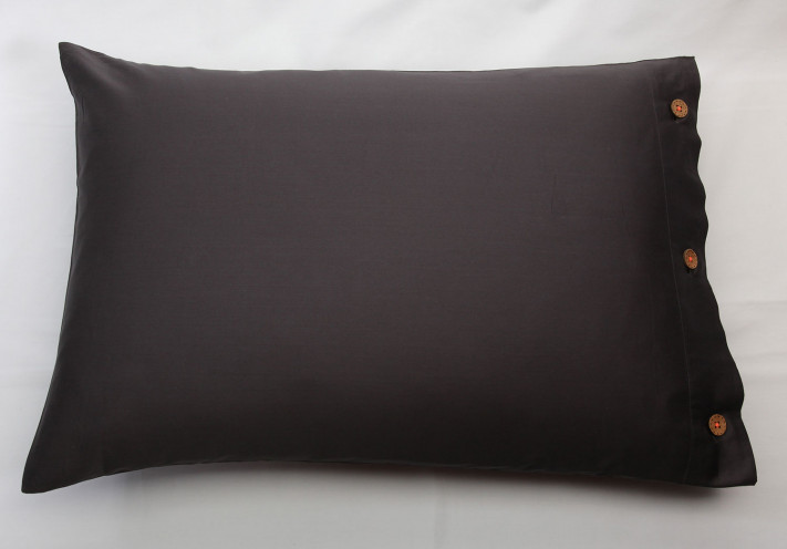 PILLOW CASE SATEEN Charcoal with...