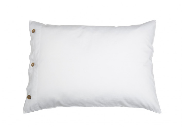 PILLOW CASE SATEEN WITH COCONUT BUTTONS WHITE
