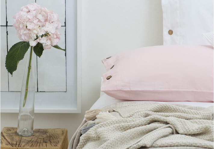 PILLOW CASE SATEEN WITH COCONUT LIGHT CORALL
