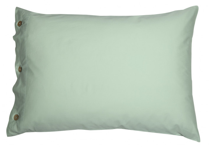 PILLOW CASE SATEEN WITH COCONUT BUTTONS LIGHT LIME GREEN