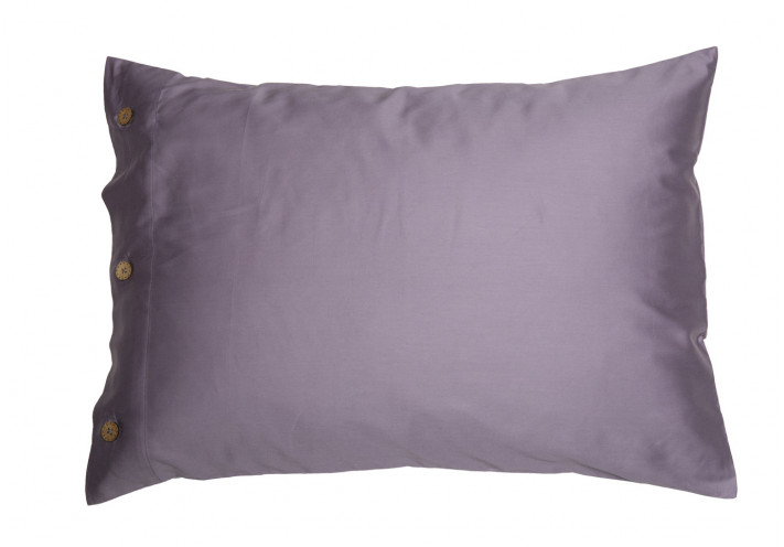 PILLOW CASE SATEEN WITH COCONUT BUTTONS MAUVE