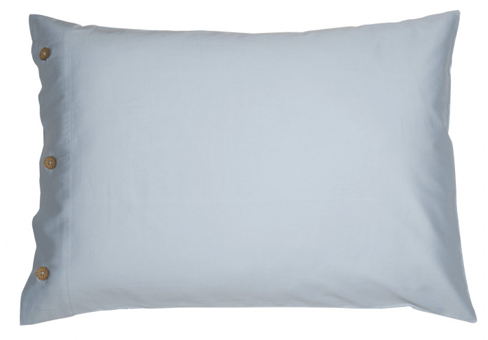 PILLOW CASE SATEEN WITH COCONUT BUTTONS LIGHT BLUE